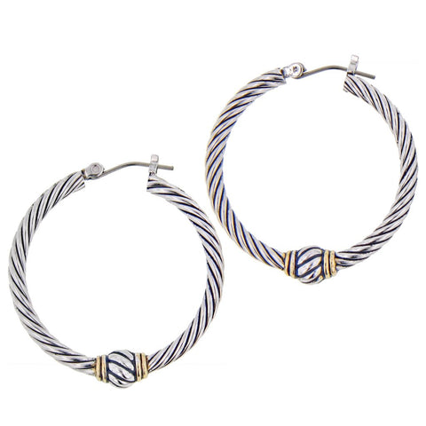 John Medeiros Twisted Wire Hoop Earrings