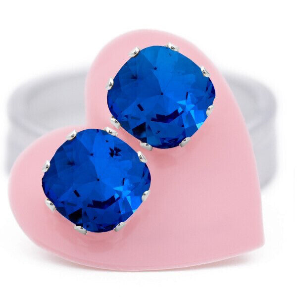 JoJo Cushion Cut Bling Earrings Sapphire