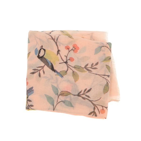 Pale Pink Birds on Cherry Tree Scarf