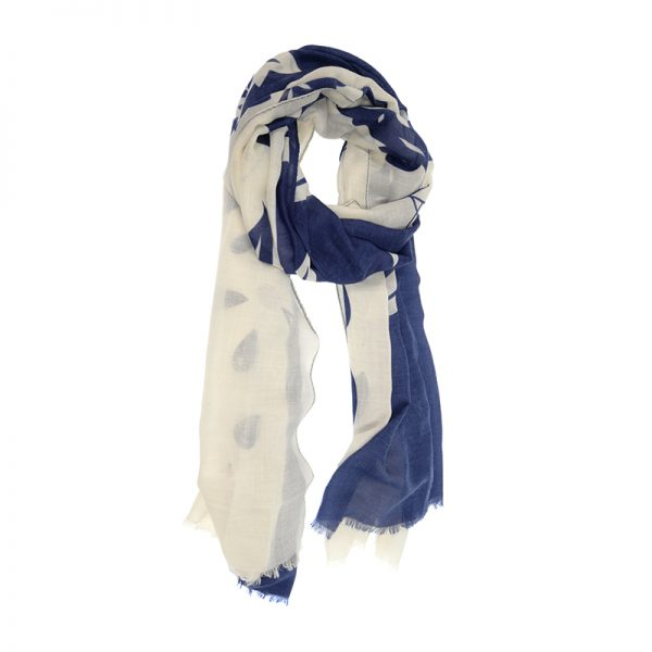 Navy & White Olive Branch Scarf