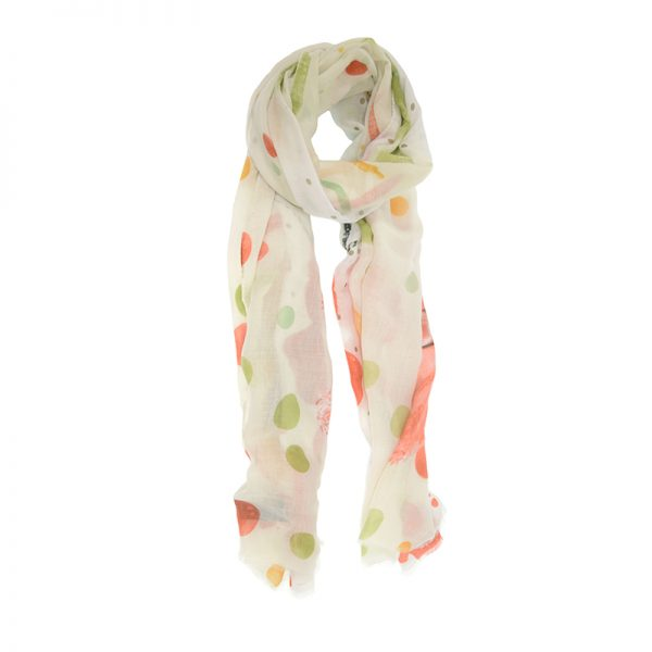 Coral Dotted Floral Scarf