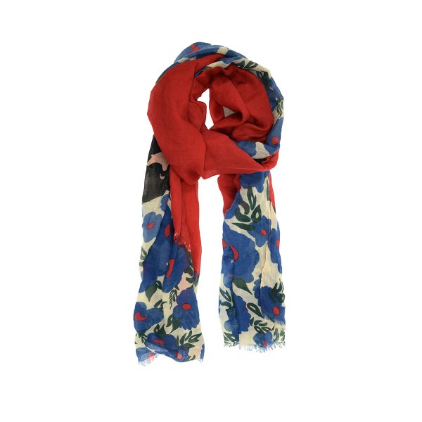 Red & Teal Floral Poppy Scarf