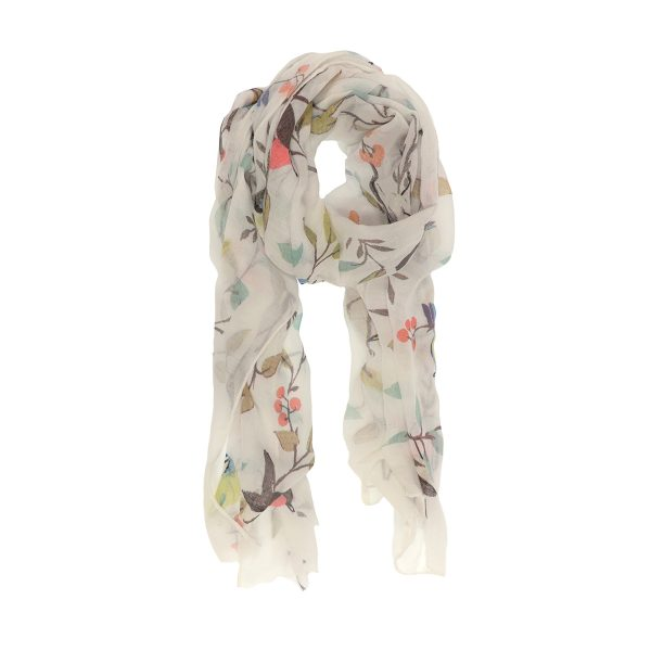 White Birds in Cherry Tree Scarf