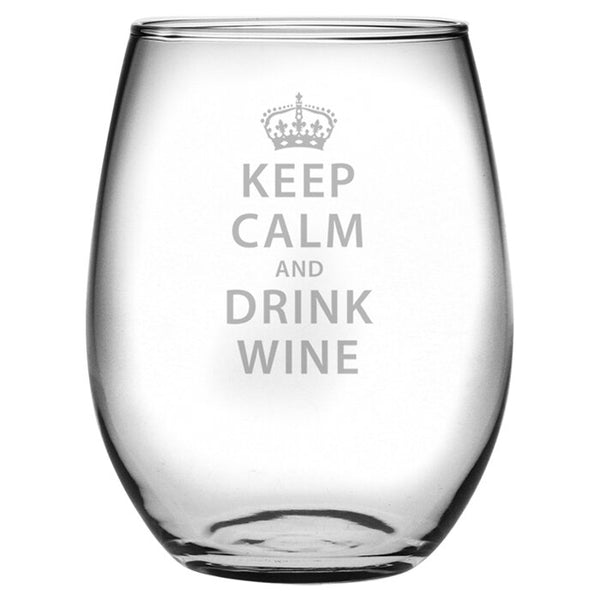 Keep Calm & Drink Wine - stemless wine glass
