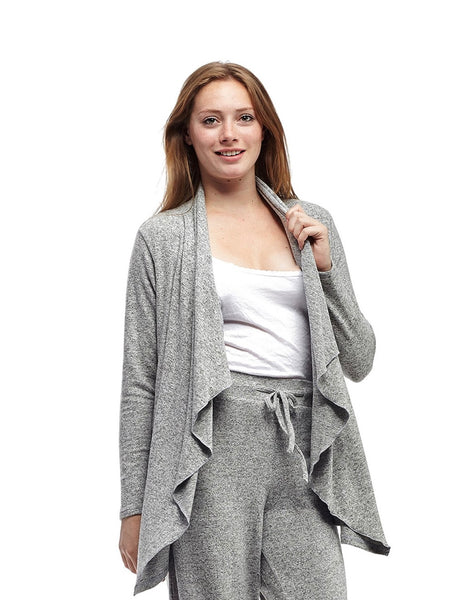 Comfort Collection Cascading Front Cardigan Grey