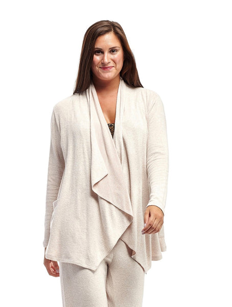 Comfort Collection Cascading Front Cardigan Taupe