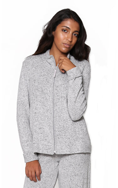 Zip Front Jacket with Cowl Neck Grey
