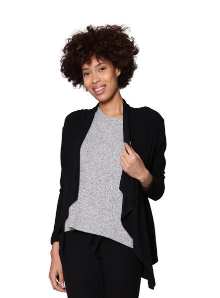 Comfort Colletion Cascading Front Cardigan Black