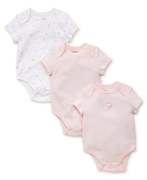 Little Me 3pc Onsie Set Pink Lion,Strip & Stars