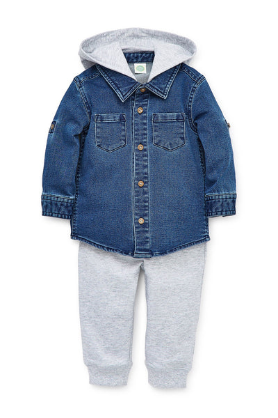 Little Me Knit Denim Flannel 2pc Set