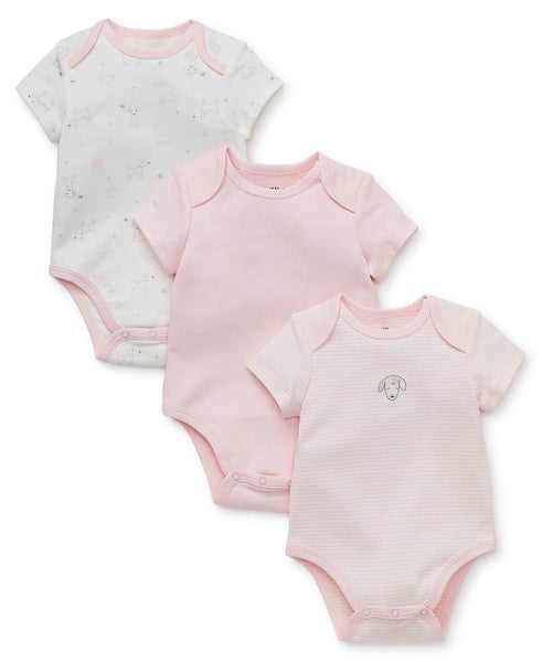 Littl Me Pink Puppy 3pc Onsie Set