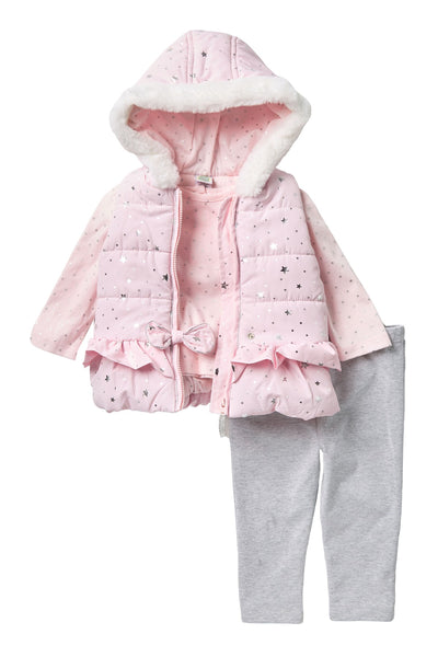 Little Me  Faux Fur Pink Puffer Vest  3pc Set