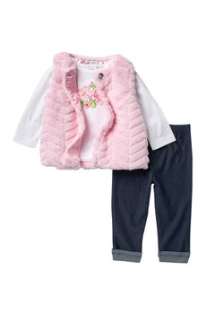 Little Me Pink Faux Fur Vest 3pc Set