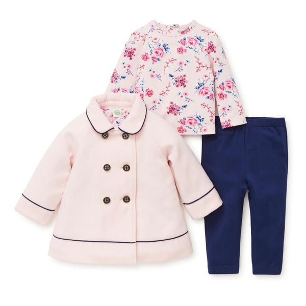 Little Me 3 pc Pink Wool Coat Set