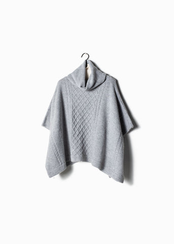 Cable Knit Turtle Neck Poncho Light Grey
