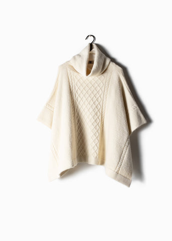 Cable Knit Turtle Neck Poncho Ivory
