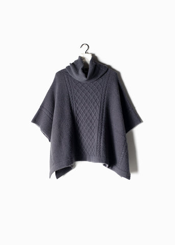 Cable Knit Turtle Neck Poncho Midnight