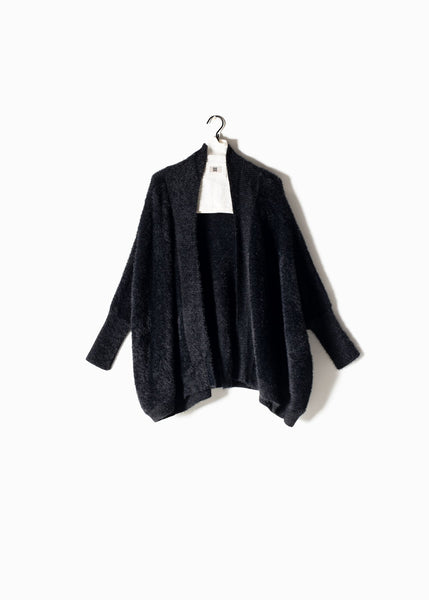 Eyelash Cape Cardigan Black