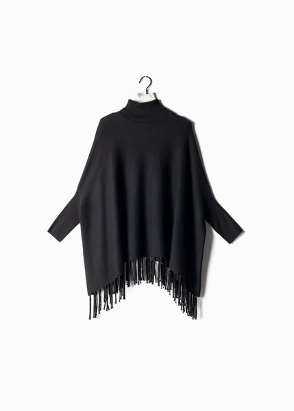 Turtleneck Cape Sweater with Fringe Black