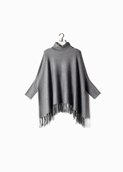 Turtleneck Cape Sweater with Fringe Grey