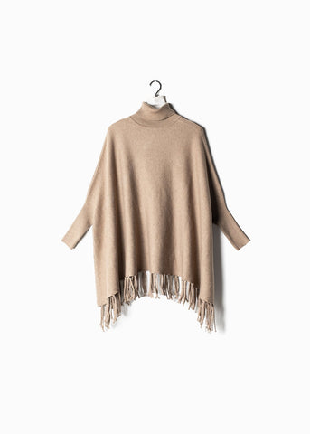 Turtleneck Cape Sweater with Fringe Tan