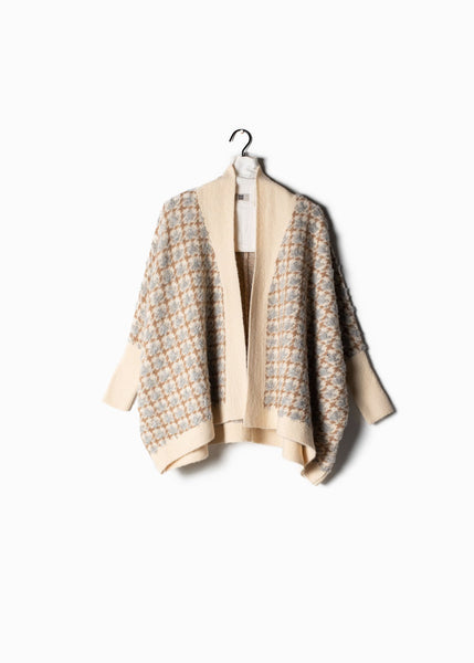 Boucle Houndstooth Cape Cardigan Ivory
