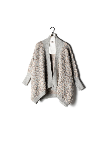 Boucle Leopard Cape Cardigan Grey