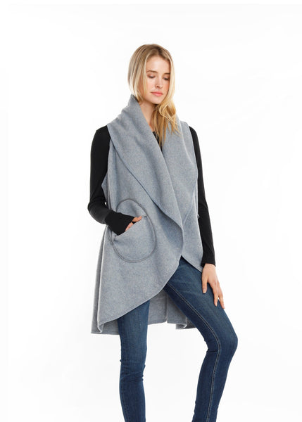 Circle Pocket shawl Vest Light Grey