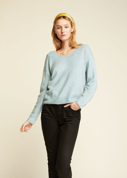 Basic V Neck Sweater Baby Blue