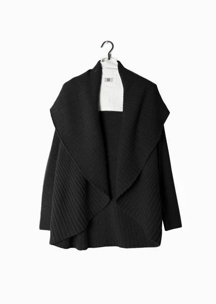 Pleated Shawl Cardigan Black