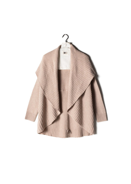 Pleated Shawl Cardigan Blush