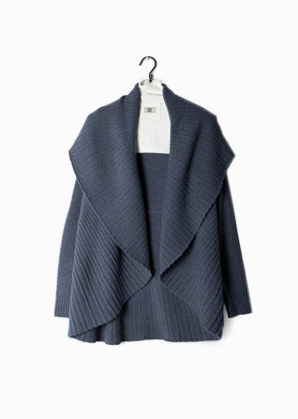 Pleated Shawl Cardigan Denim Blue