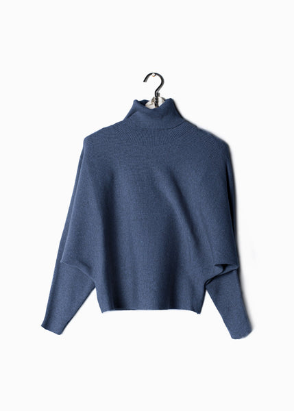 Ribbed Turtle Neck Sweater Denim Blue