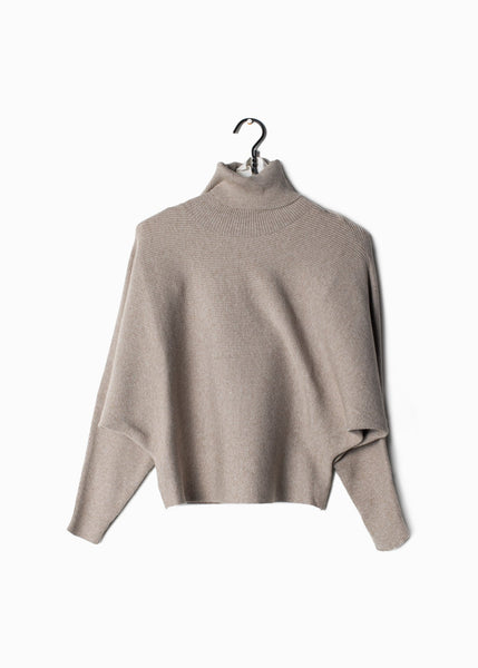 Ribbed Turtle Neck Sweater Taupe