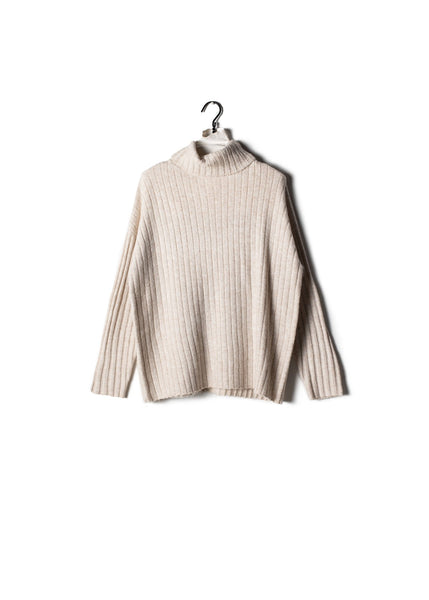Shiny Ribbed Turtleneck Sweater Ivory
