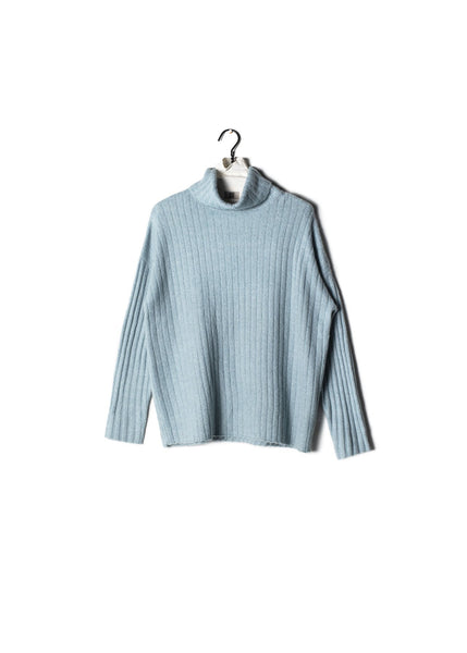 Shiny Ribbed Turtleneck Sweater Mint