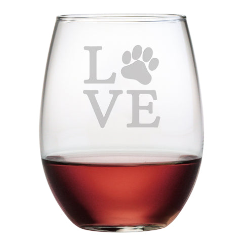 Love Paw - stemless wine glass