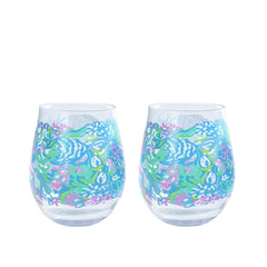 Lilly Pulitzer Acrylic Wine Glass Set Aqua la Vista