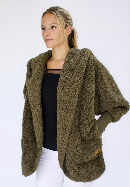 Nordic Beach Wrap Cardigan Olive