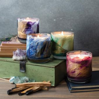 Northern Lights Meditation Candle Lotus Blossom