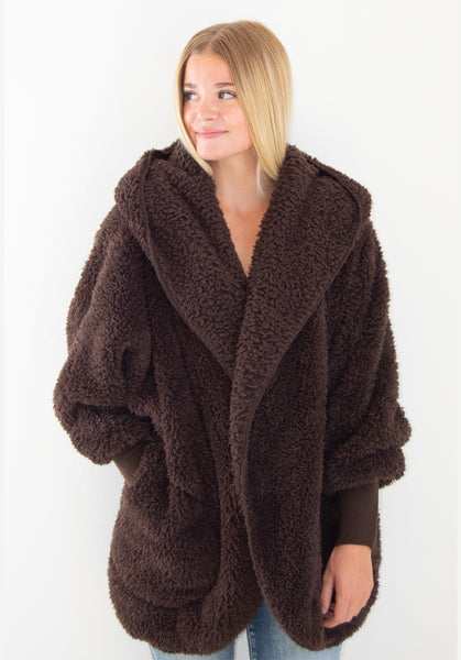 Nordic Beach Wrap Cardigan Dark Chocolate