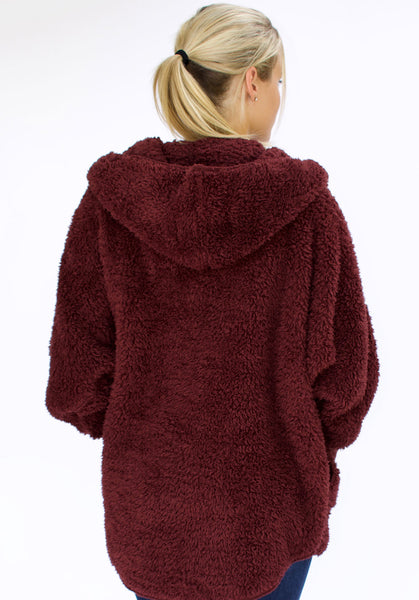 Nordic Beach Wrap Cardigan Chocolate Cherry