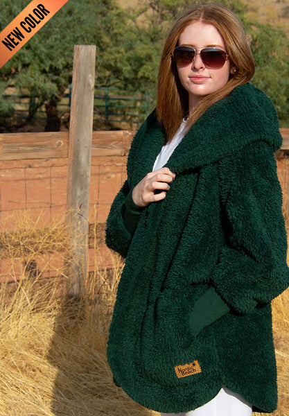 Nordic Beach Wrap Cardigan Emerald Forest