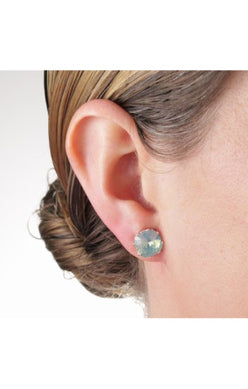 JoJo Cushion Cut Earrings Pacific Green Opal