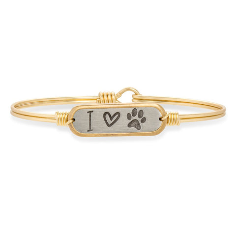 Luca + Danni - I Love Paw Print Bangle Bracelet