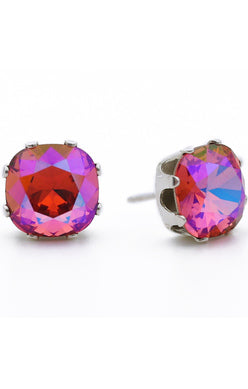 JoJo Cushion Cut Earrings Pink AB