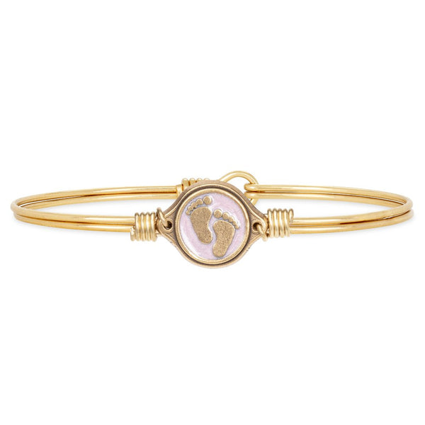 Luca + Danni - Little Footsteps Bangle Bracelet in Pink