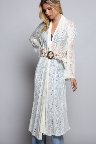 Long Open Knit Cardigan Ivory