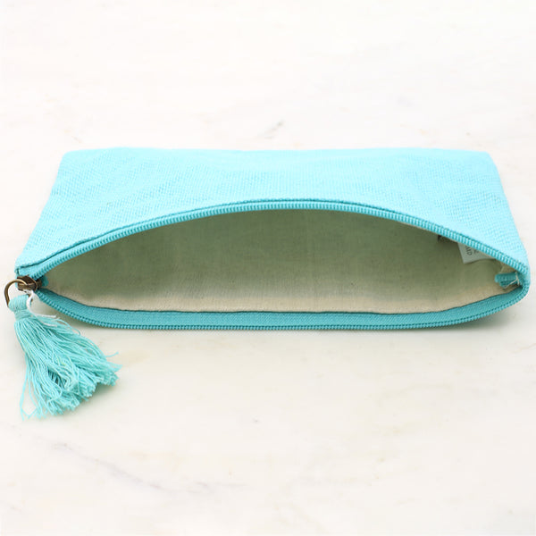 Jute Cosmetic Bag Aruba Blue