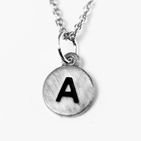 "Cool And Interesting Dainty Disc Initial ""A"" Silver"